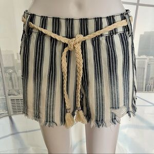 Rewash Blue and White Stripped Denim Shorts Size M